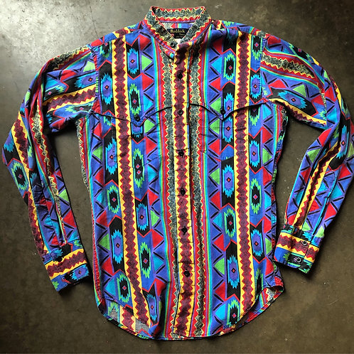 Vintage Ruddock Bros Western Tribal Aztec Button Up Shirt Sz Small