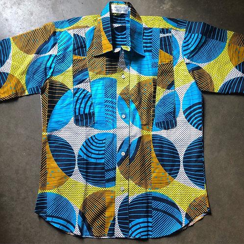 Vintage 80s Chez Lucie Spheres Button Up Shirt Sz L/XL