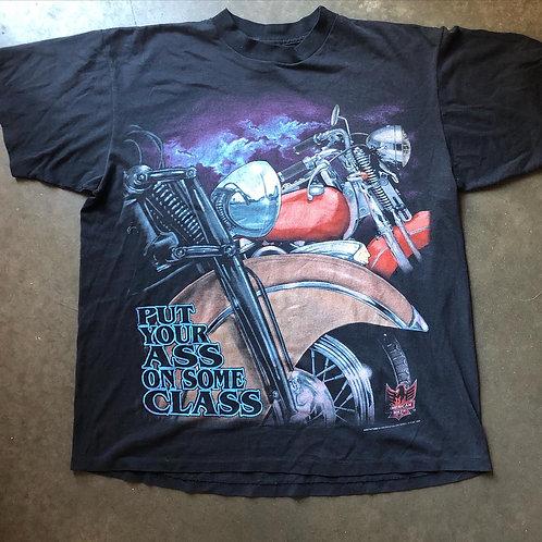 Vintage American Biker 3D Emblem Put Your Ass in Some Class T Shirt Tee Sz XL