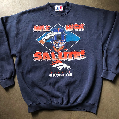 Vintage Logo Athletic Denver Broncos Mile High Salute Crewneck Sweatshirt Sz XL