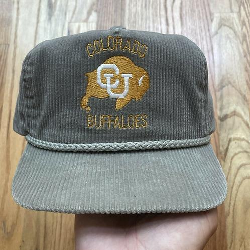 Vintage 80's Colorado Buffaloes Corduroy Leather StrapbackHat