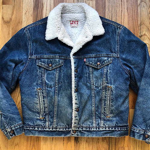 Vintage Levi's USA Sherpa Lined Denim Jean Jacket Sz 44R