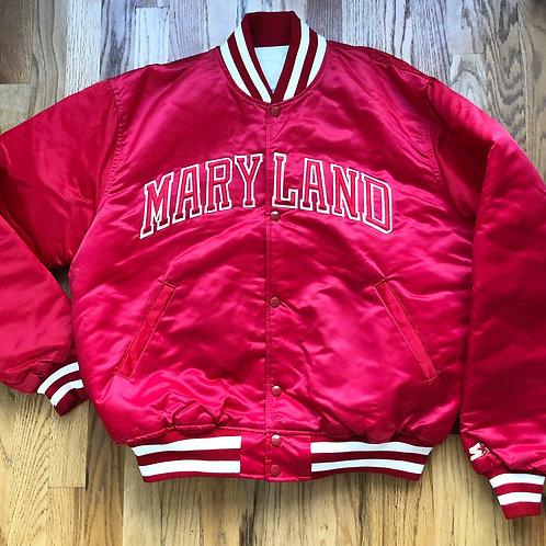 Vintage Starter Maryland Terrapins Satin Bomber Jacket Sz XL