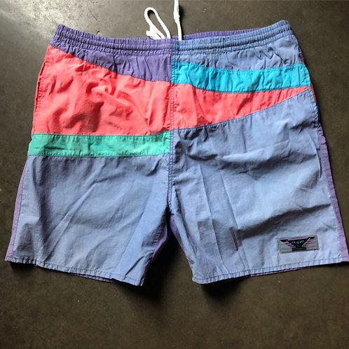 Vintage Pastel Colorblock Swim Trunk Shorts Sz L
