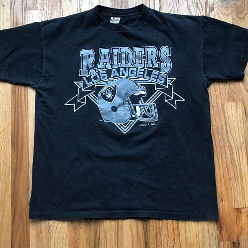 Vintage Logo 7 Los Angeles Raiders T Shirt Tee Sz L/XL