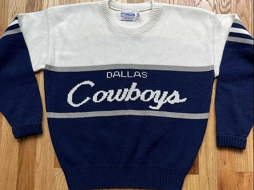 Vintage 80's Cliff Engle Dallas Cowboys Script Crewneck Sweater Sz L