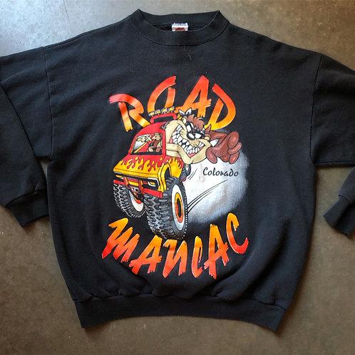 Vintage Looney Tunes Taz Road Maniac Crewneck Sweatshirt Sz M/L