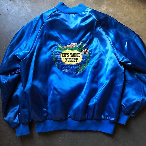 Men's Vintage Ed's Tahoe Nugget Casino Satin Bomber Jacket Sz M/L