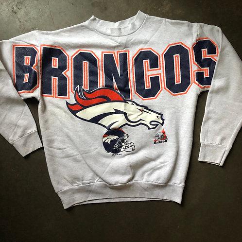 Vintage Riddell USA Denver Broncos Spell Out Crewneck Sweatshirt Sz M