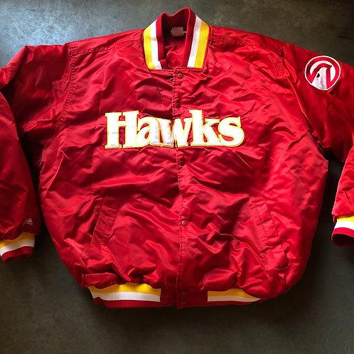Vintage Majestic Atlanta Hawks Satin Bomber Jacket Sz 3XL