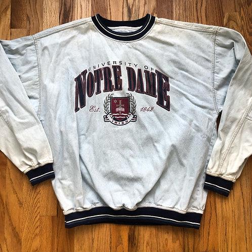 Vintage Gear Notre Dame Fighting Irish Denim Sweatshirt Sz XL