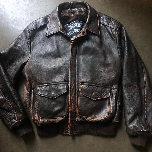 Vintage Schott NYC Leather Bomber Pilots Jacket Sz 44
