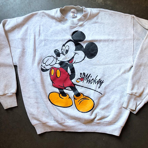 Vintage Disney Mickey Mouse Heather Gray Crewneck Sweatshirt Sz L/XL
