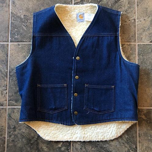 Vintage Carhartt USA Sherpa Lined Denim Jean Jacket Vest Sz L
