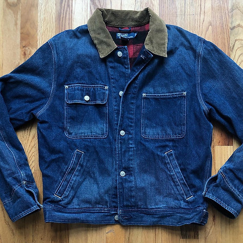 Vintage Polo Ralph Lauren Flannel Lined Denim Jean Jacket Sz L