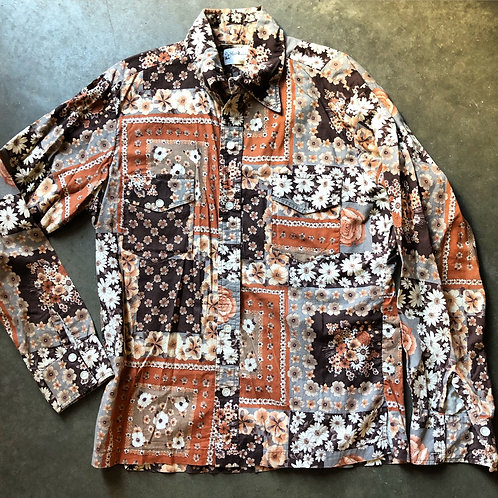 Vintage 70s Shirt Designs Floral Button Up Shirt Sz M/L