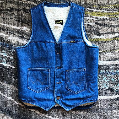 Vintage Wrangler USA Sherpa Lined Jean Jacket Vest Sz S