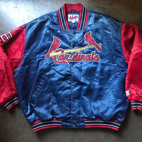 Vintage Starter St Louis Cardinals Satin Bomber Jacket Sz 4XL