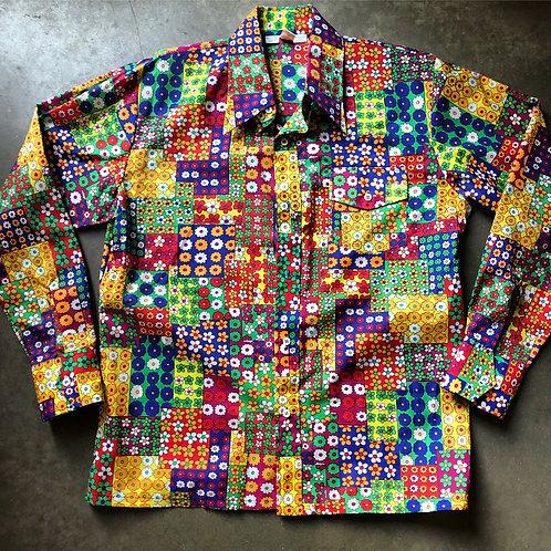 Vintage SLRY Nylon Floral Button Up Shirt Sz L