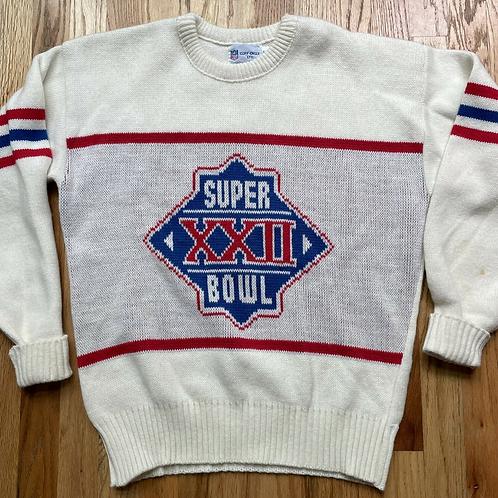 Vintage 80's Cliff Engle Super Bowl XXII Crewneck Sweater Sz L