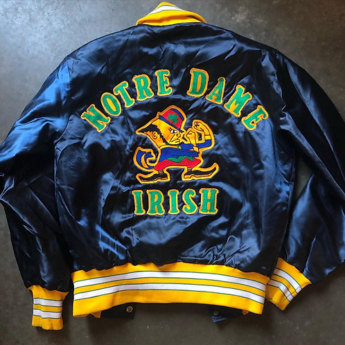 Vintage Delong Notre Dame Fighting Irish Chainstitch Satin Bomber Jacket Sz S/XS