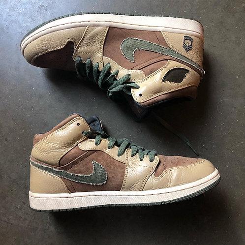 Nike Air Jordan 1 Mid Armed Forces MDM Brown Sz 10.5