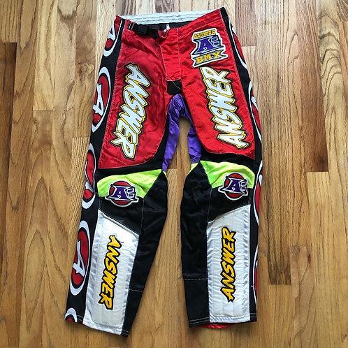 Vintage Answer BMX MX Racing Pants Sz 26