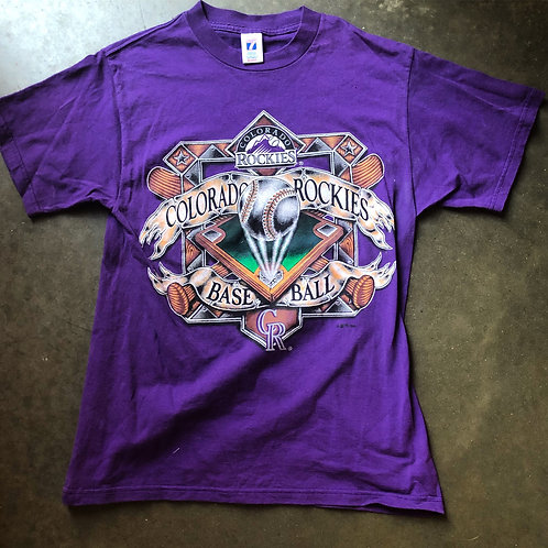 Vintage Logo 7 Colorado Rockies T Shirt Tee Sz M