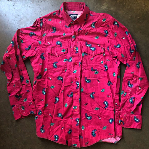 Vintage Wrangler Western Wear Pink Paisley Button Up Shirt Sz L