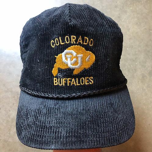 Vintage Corduroy Colorado Buffaloes Leather Strapback Hat