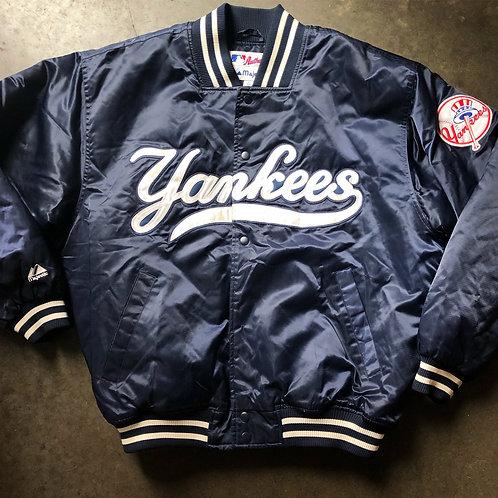 Majestic New York Yankees Satin Bomber Jacket Sz L