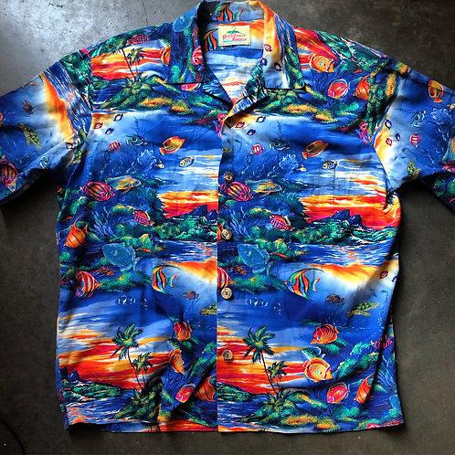 Vintage Paradise on A Hanger Ocean Hawaiian Button Up Shirt Sz XL