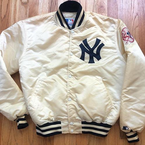 Vintage Starter New York Yankees Cream Satin Bomber Jacket Sz XL