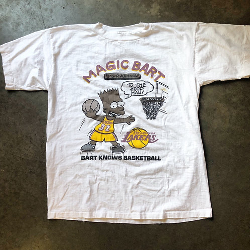Vintage Bootleg Magic Bart Los Angeles Lakers T Shirt Tee Sz L/XL