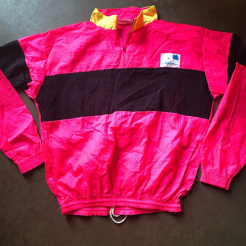 Vintage Star on the Beach Neon Pink Windbreaker Jacket Sz M/L