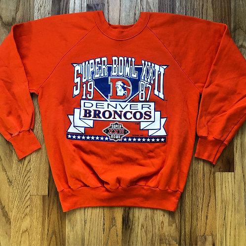 Vintage Logo 7 Denver Broncos Super Bowl Crewneck Sweatshirt Sz S/M