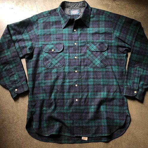 Vintage Pendleton Plaid Wool Button Up Shirt Sz XL