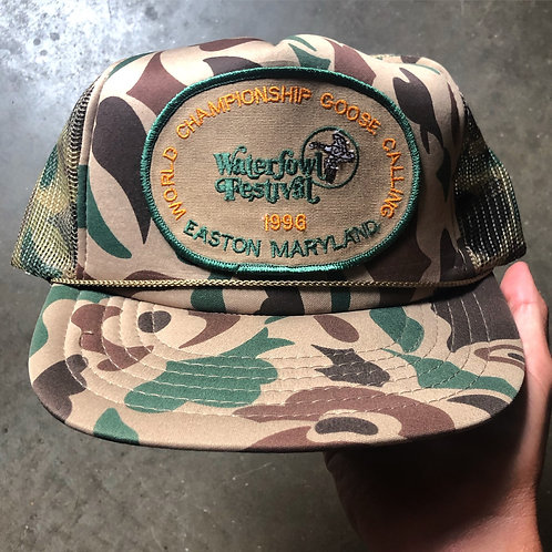 Vintage 1996 Waterfoul Festival Word Championship Goose Calling Camo Snapback Ha