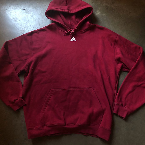 Vintage Adidas Mini Center Logo Hoodie Sweatshirt Sz XL