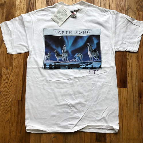 NWT Vintage Oneita Earth Song Wolves T Shirt Tee Sz M