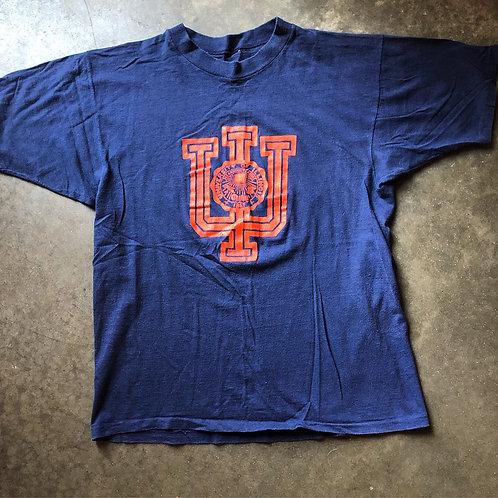 Vintage 80s Illinois Fighting Illini T Shirt Tee Sz M