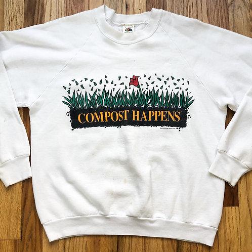 Vintage FOTL Compost Happens Crewneck Sweatshirt Sz L