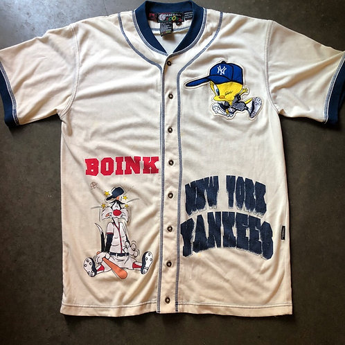 Vintage Looney Tunes New York Yankees Baseball Jersey Sz L