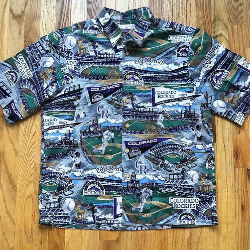 Reyn Spooner Colorado Rockies 2007 NL Champions All Over Print Hawaiian Shirt Sz