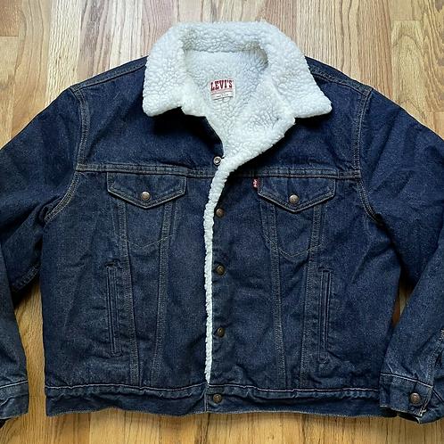 Vintage 80s Levi's USA Sherpa Lined Denim Jean Jacket Sz 48R (XL)