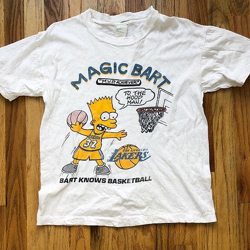 Vintage Bootleg Bart Los Angeles Lakers T Shirt Tee Sz S