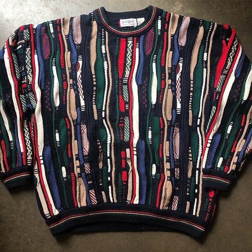 Vintage North Wales Textured Coogi Like Crewneck Sweater Sz XL