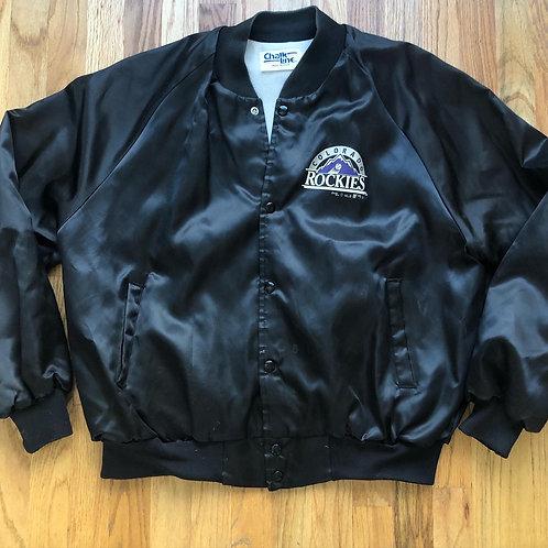 Vintage Chalk Line Colorado Rockies Satin Bomber Jacket Sz XL