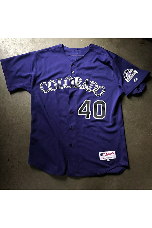 Majestic Authentic Colorado Rockies Brian Fuentes Autographed Jersey Sz 50