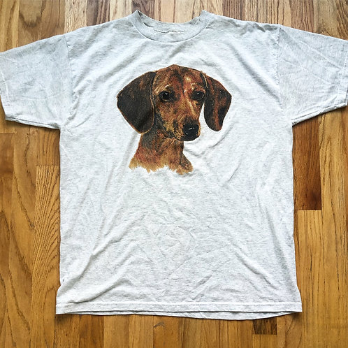 Vintage Dachshund Weiner Dog Heather Gray T Shirt Tee Sz XL